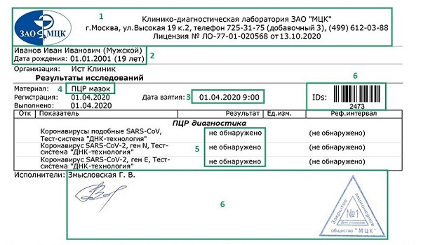 Пример справки об отрицательном ПЦР-тесте на русском.